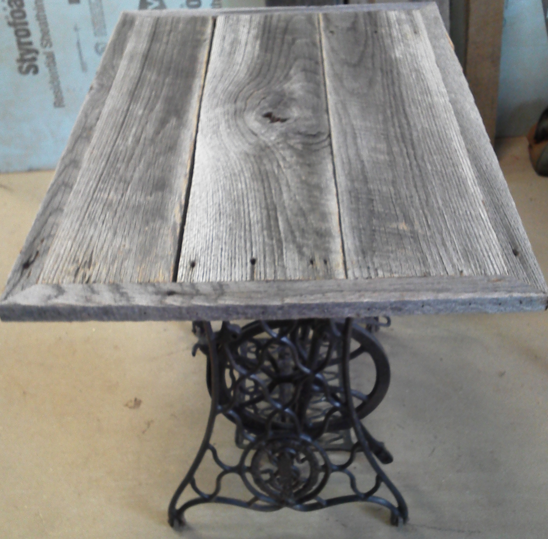 Singer Sewing Base Table, Good Pic BA Singer Barnwood Top Side View